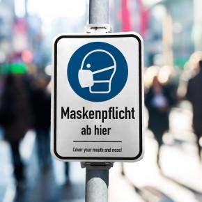 360 Grad Plakat - DIN A1 -  Maskenpflicht - Anwendung