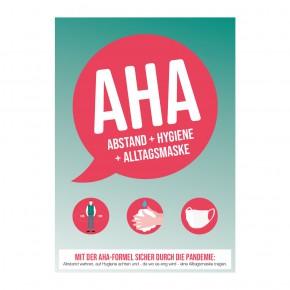 Poster oder Hinweisschild - Abstand - Hygiene - Alltagsmasken (AHA) - Motiv 1 - rot