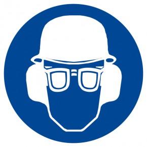 Gebotsschild Augen-, Gehör- und Kopfschutz benutzen