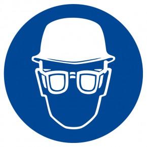 Gebotsschild Augen- und Kopfschutz benutzen
