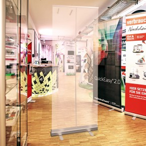 RollUp QuickEasy 85x200cm  mobile Spuckschutzwand -  mit transparenter Kunststofffolie