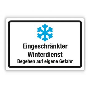 Schild - Eingeschränkter Winterdienst - Begehen auf eigene Gefahr (Eiskristall) auf Forex