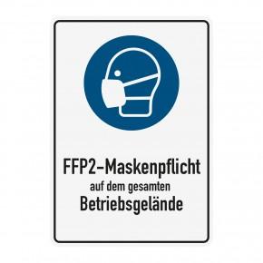 Poster oder Hinweisschild - FFP2 Maskenpflicht - Betriebsgelaende