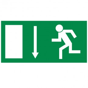 Rettungsschild Fluchtweg abwärts