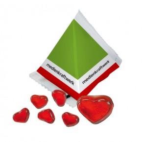 Individuell bedruckte Gummibärchen Pyramiden-Werbetüten Herzform