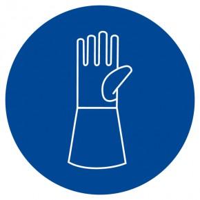 Gebotsschild Handschuhe mit Pulsschutz tragen