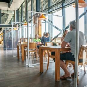 Hygiene-Schutzwand - PVC - Anwendungsbeispiel - Restaurant Gastronomie - Indoor