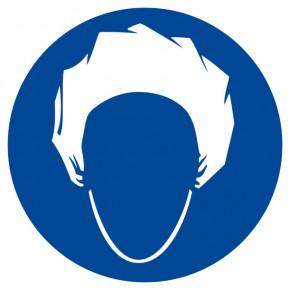 Kopfhaube benutzen - Gebotsschild