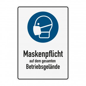 Poster oder Hinweisschild - Maskenpflicht - Betriebsgelaende