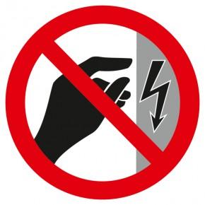 Verbotsschild Nicht Berühren, Gehäuse unter Spannung