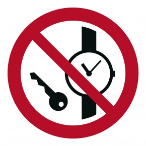 Verbotsschild Mitführen von Metallteilen - P008