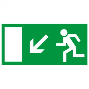 Rettungsschild Fluchtweg links abwärts