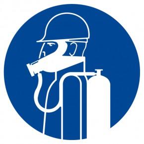 Schweres Atemschutzgerät benutzen - Gebotsschild
