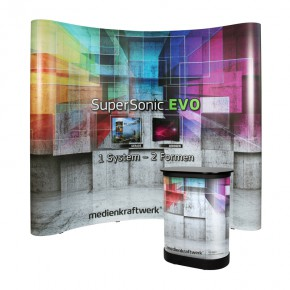 SuperSonic® EVO C33 gebogen - Faltdisplay mit SmallBox Transportkoffer