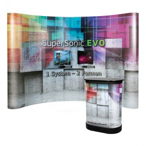 SuperSonic® EVO C43 gebogen - Faltdisplay mit SmallBox Transportkoffer