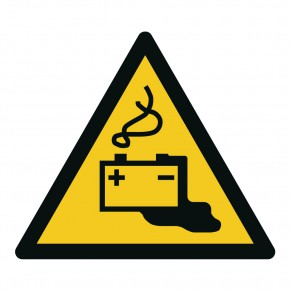 Warnschild Warnung vor Gefahren durch Batterien - W026