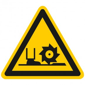 Warnschild Warnung vor Fräswelle