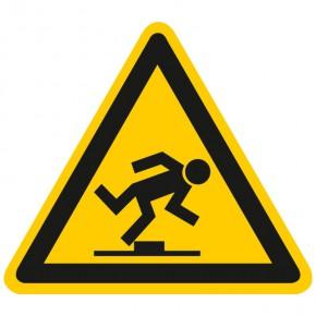 Warnschild Warnung vor Stolpergefahr