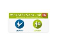 Werbeplane - Geimpft / Genesen (2G) - 200 x 100 cm - grün