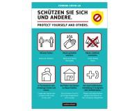 Poster oder Hinweisschild mit Schutzmaßnahmen