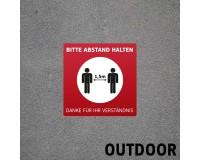 Fußbodenaufkleber mit Hygienehinweis - Bitte Abstand Halten - 40 x 40 cm - Outdoor - DEUTSCH