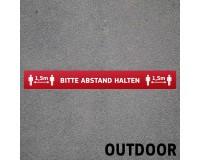 Fußbodenaufkleber mit Hygienehinweis - Bitte Abstand halten - 100 x 12,5 cm - Outdoor - DEUTSCH
