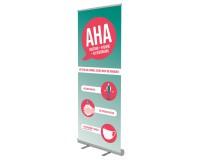 RollUp-Display - Abstand - Hygiene - Alltagsmasken (AHA) - QuickEasy ® 2.0 85/200  - Motiv 1 - rot