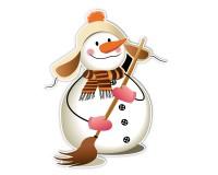 Figurenaufsteller mit Weihnachtsmotiv - Motiv 1 - Schneemann mit Besen