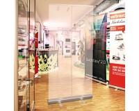 RollUp QuickEasy 100x200cm  mobile Spuckschutzwand -  mit transparenter Kunststofffolie