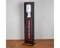 Desinfektionsständer QuickBase mit Digitaldruck und kontaktlosem Design-Desinfektionsspender mit Sensor und Tropfschale