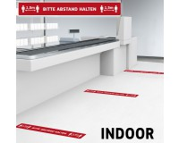 Fußbodenaufkleber mit Hygienehinweis - Bitte Abstand halten - 100 x 12,5 cm - Indoor - DEUTSCH