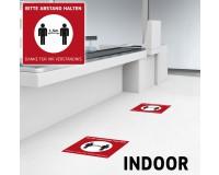 Fußbodenaufkleber mit Hygienehinweis - Bitte Abstand Halten - 40 x 40 cm  - Indoor - DEUTSCH