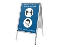 Kundenstopper DIN A1 mit Rondoecken und Hygienehinweisen - Bitte Abstand halten und Maske tragen - Motiv 2