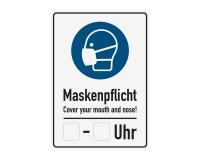 Poster oder Hinweisschild - Maskenpflicht mit Freifeld