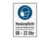 Poster oder Hinweisschild - Maskenpflicht - Cover your mouth and nose! - 8 - 22 Uhr