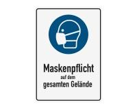 Poster oder Hinweisschild - Maskenpflicht - Gelände