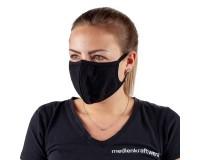 2-lagige Baumwoll-Maske - schwarz - 5 Stück