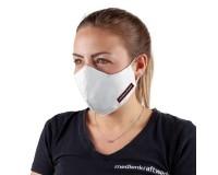 Mund-Nasen-Maske mit Filtertasche weiß - Logodruck links (Größe S)