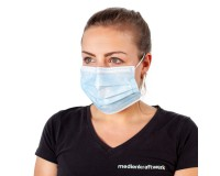Mund-Nasen-Maske 3-lagig weiß/hellblau - Einweg