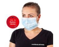 3-lagige Maske weiß/hellblau - Einweg