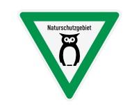 Schild - Naturschutzgebiet Wald mit Eule