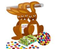 Osterhase mit LogoBox und bunten Schokolinsen inkl. Werbedruck