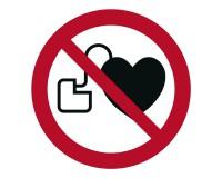 Verbotsschild Herzschrittmacher verboten - kein Zutritt für Personen mit Herzschrittmachern oder implantierten Defibrillatoren - P007