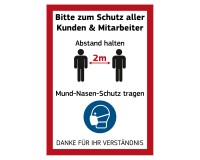 """Poster """"Bitte Abstand halten und Mund-Nasen-Schutz tragen"""" - DIN A1"""
