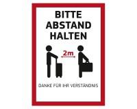 """Poster """"Bitte Abstand halten"""" für Kundenstopper DIN A1 auf PVC-Plane - Motiv Koffer"""