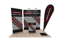 Promotionstand Set 6 - RollUp-Display, Messewand, Promotiontheke und Werbefahne