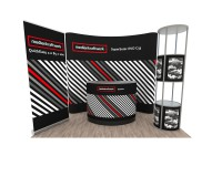 Promotionstand Set 7 - Messewand, RollUp-Display, Theke und Vitrine