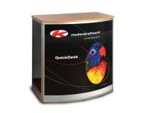 QuickDesk Halbrundtheke medium inkl. buchefarbener Thekenplatte und Digitaldruck
