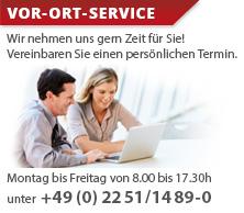 Unser Kunden-Service ist von Montag bis Freitag zwischen 8:00 Uhr bis 17:30 Uhr MEZ für Sie erreichbar. Rufen Sie uns an +49 (0) 2251 - 1489 - 0.